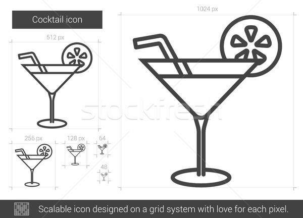 Koktél vonal ikon vektor izolált fehér Stock fotó © RAStudio