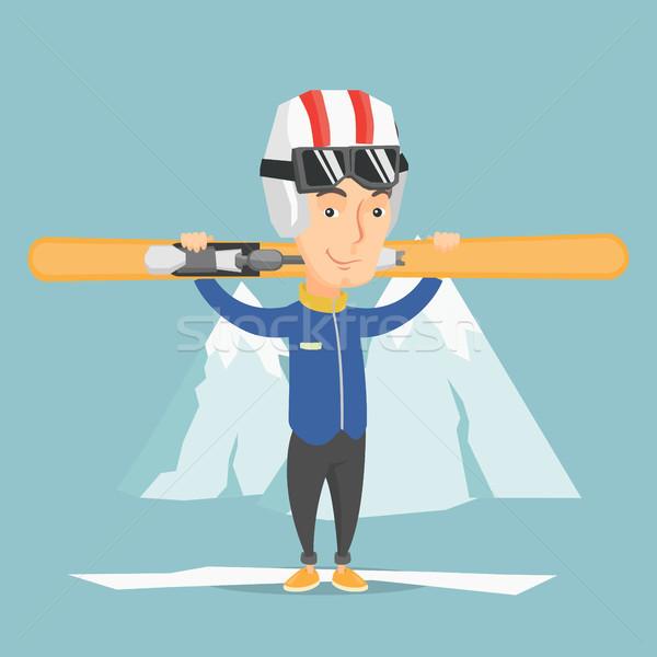 Stock photo: Man holding skis vector illustration.