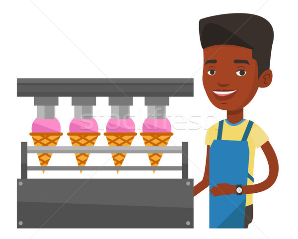 Worker of factory producing ice-cream. Stock photo © RAStudio