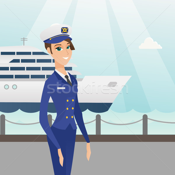Caucasian ship captain in uniform at the port. Stock photo © RAStudio