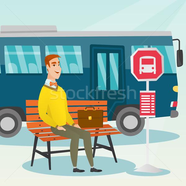 Caucásico hombre espera autobús parada de autobús empresario Foto stock © RAStudio