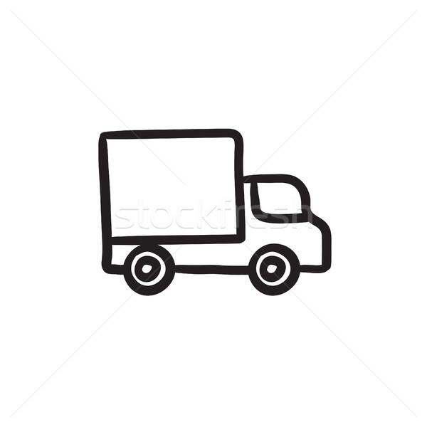 Delivery van sketch icon. Stock photo © RAStudio