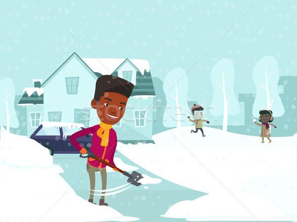 Pai neve crianças brincando jovem pá caucasiano Foto stock © RAStudio