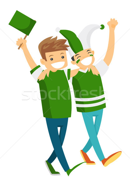 Stock photo: Group of happy sport fans supporting their team.