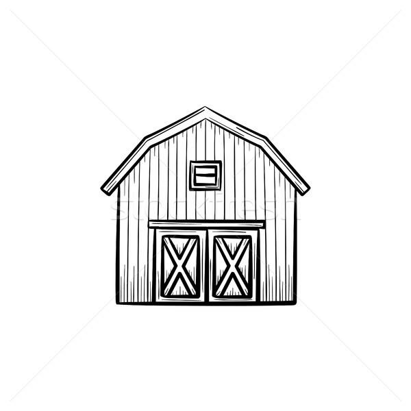 Stok fotoğraf: çiftlik · ahır · kroki · ikon · vektör