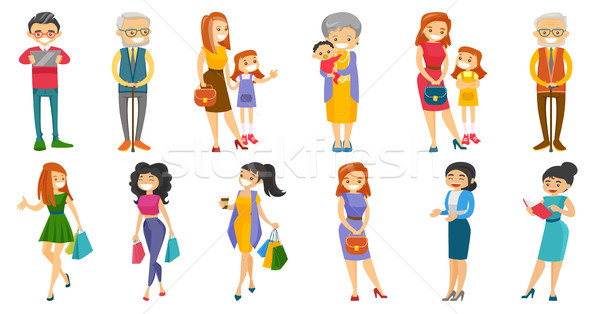 Stock photo: Caucasian white people vector illustrations set.