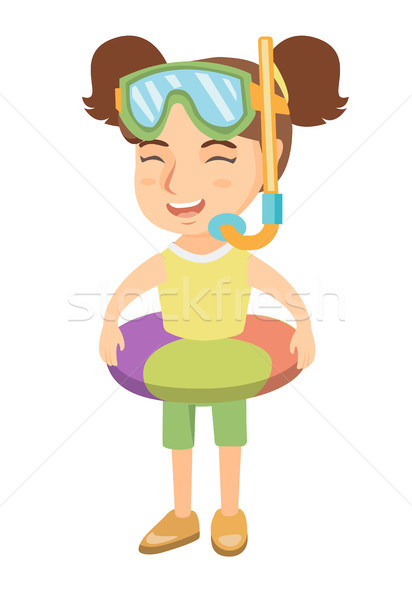 Girl with inflatable ring, diving mask and snorkel Stock photo © RAStudio