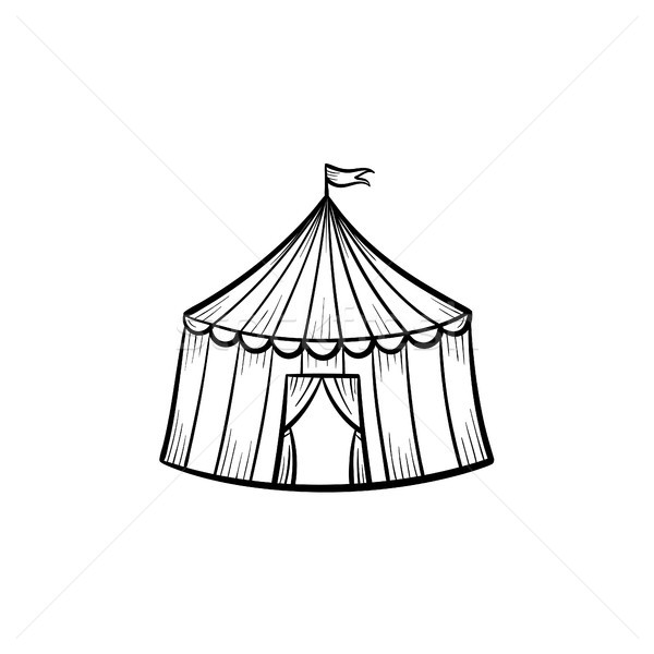 Marquee circus tent hand drawn sketch icon. Stock photo © RAStudio