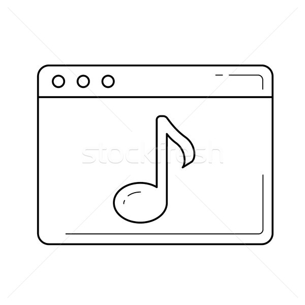 Multimedia línea icono vector aislado blanco Foto stock © RAStudio