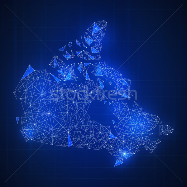 Veelhoek Canada kaart banner technologie Stockfoto © RAStudio