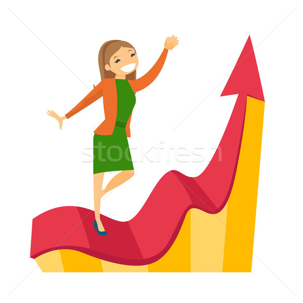 Caucasian business woman running on profit chart. Stock photo © RAStudio