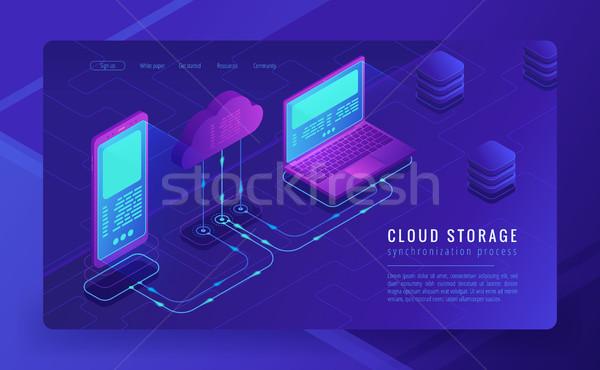 Isometrica nube stoccaggio atterraggio pagina memorizzazione dei dati Foto d'archivio © RAStudio