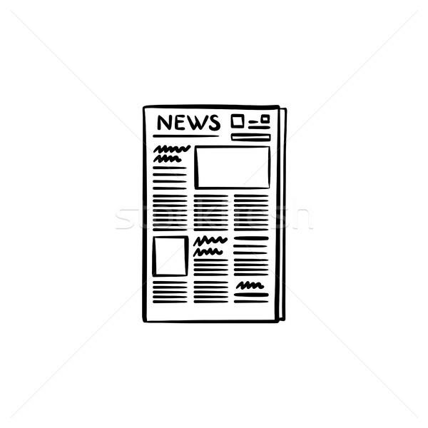 Journal dessinés à la main doodle icône publicité Photo stock © RAStudio