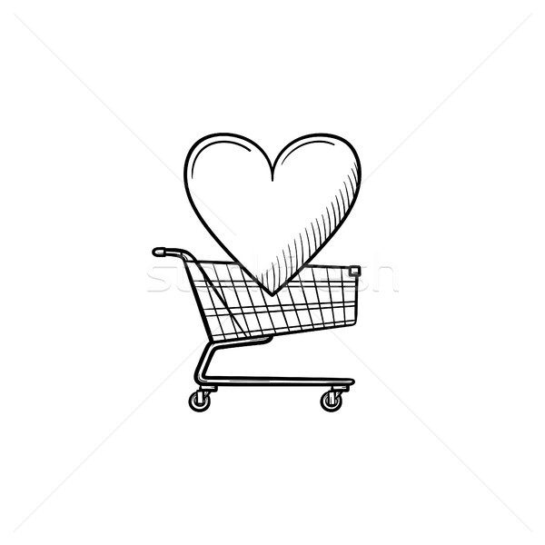 Shopping cart with heart hand drawn outline doodle icon. Stock photo © RAStudio