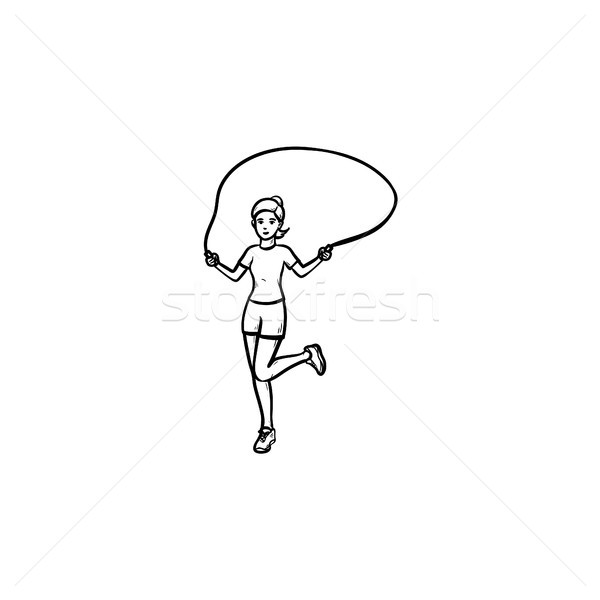 Young girl skipping hand drawn outline doodle icon. Stock photo © RAStudio