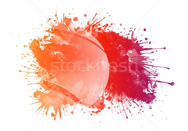 Piłka tenisowa akwarela odizolowany biały sportu tęczy Zdjęcia stock © RAStudio