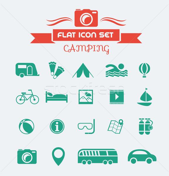 Camping Flat Icon Set Stock photo © RAStudio