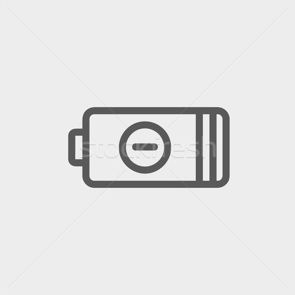 Negativos poder batería delgado línea icono Foto stock © RAStudio