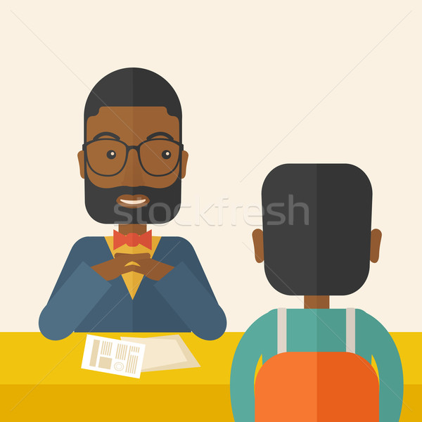 Smiling black human resource manager interviewed the applicant. Stock photo © RAStudio