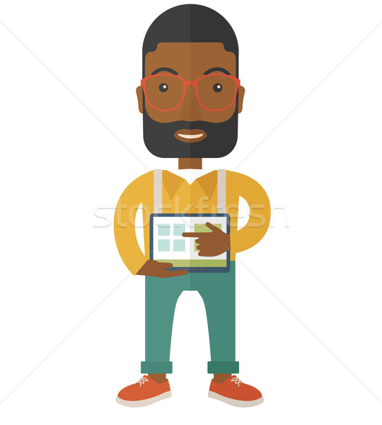 Zwarte man scherm tablet permanente hand Stockfoto © RAStudio