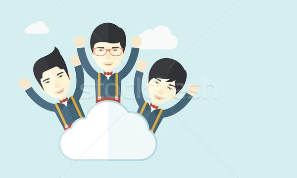 Három boldog kínai üzletemberek felhő felső Stock fotó © RAStudio