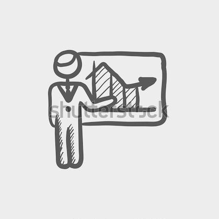 教授 黒板 スケッチ アイコン ウェブ 携帯 ストックフォト © RAStudio