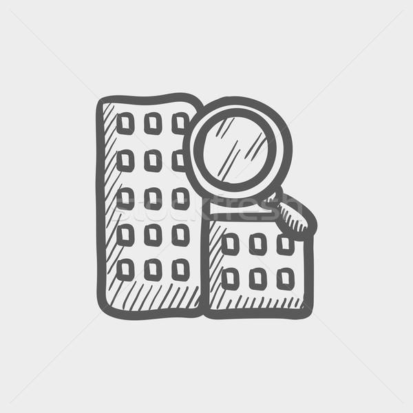 Suche Gebäude Skizze Symbol Web mobile Stock foto © RAStudio