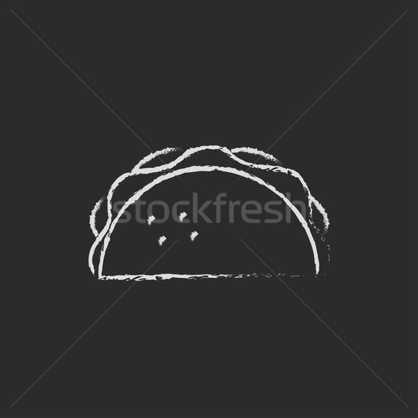 Icono tiza dibujado a mano pizarra Foto stock © RAStudio