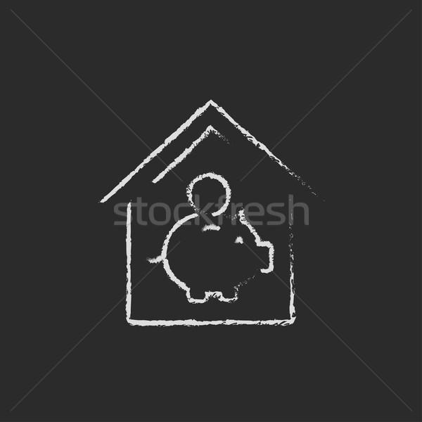 House savings icon drawn in chalk. Stock photo © RAStudio