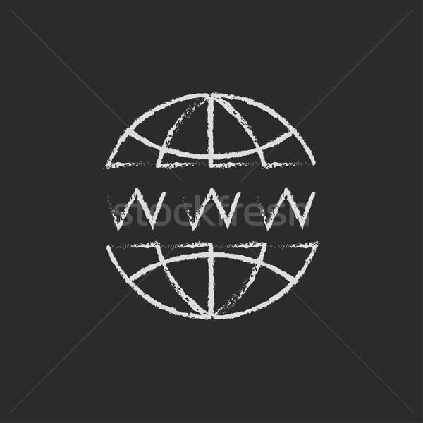 Globe internet icon drawn in chalk. Stock photo © RAStudio