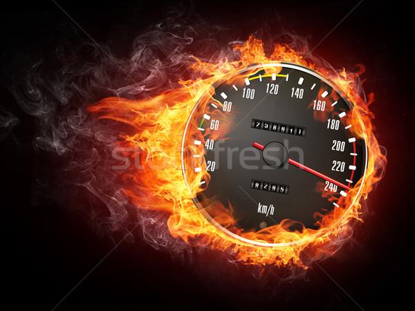 Indicateur de vitesse feu isolé noir sport fumée Photo stock © RAStudio