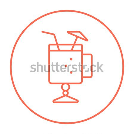 Stock photo: Glass with drinking straw and umbrella line icon.