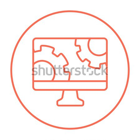 Computer monitor with gears line icon. Stock photo © RAStudio