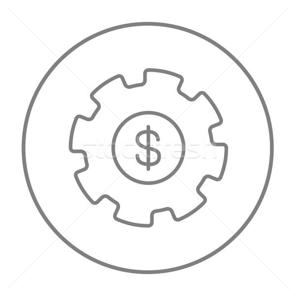 Gear знак доллара линия икона веб мобильных Сток-фото © RAStudio