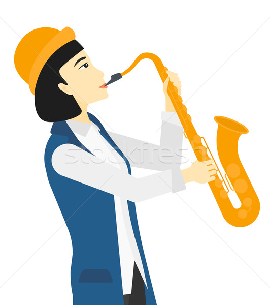 Woman playing saxophone. Stock photo © RAStudio