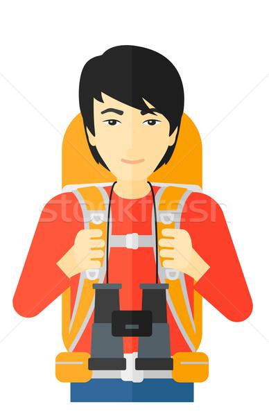 Vrolijk backpacker verrekijker asian man rugzak Stockfoto © RAStudio
