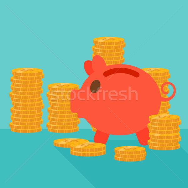 Blue background of piggy bank and golden coins. Stock photo © RAStudio