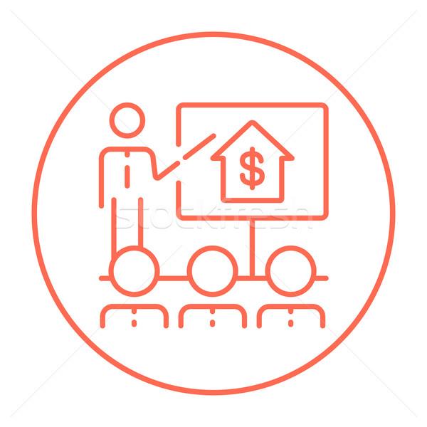 Inmobiliario formación línea icono web móviles Foto stock © RAStudio