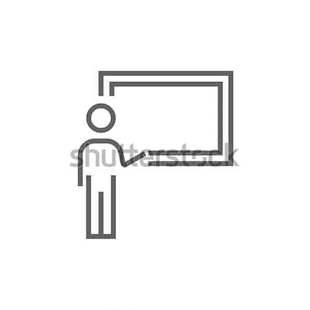 профессор указывая доске линия икона уголки Сток-фото © RAStudio