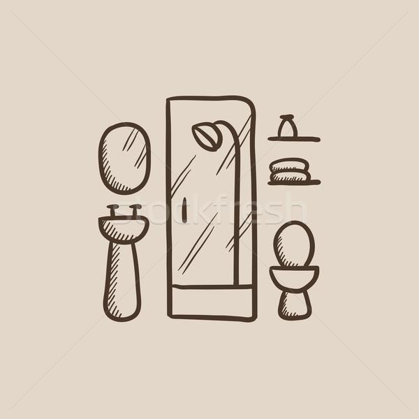 Bathroom sketch icon. Stock photo © RAStudio