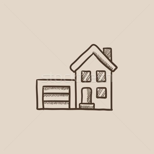 Huis garage schets icon web mobiele Stockfoto © RAStudio