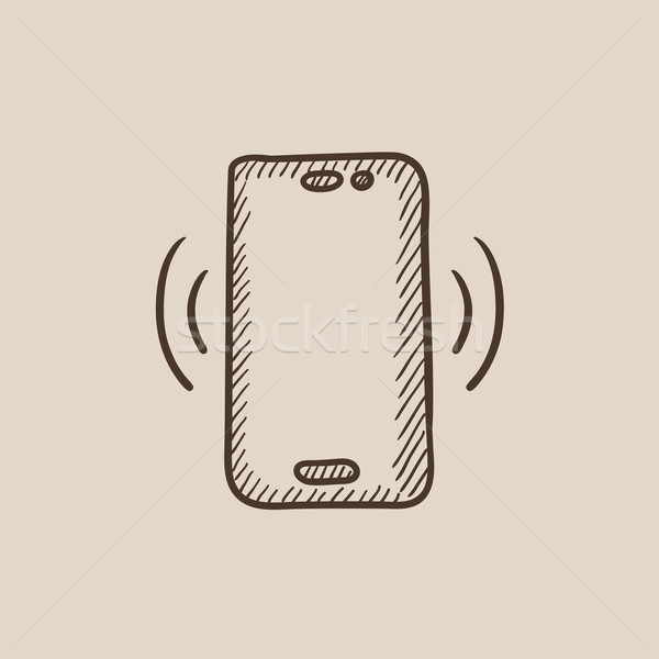 Vibrating phone sketch icon. Stock photo © RAStudio