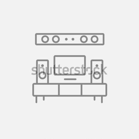 テレビ フラットスクリーン ホーム 劇場 行 アイコン ストックフォト © RAStudio