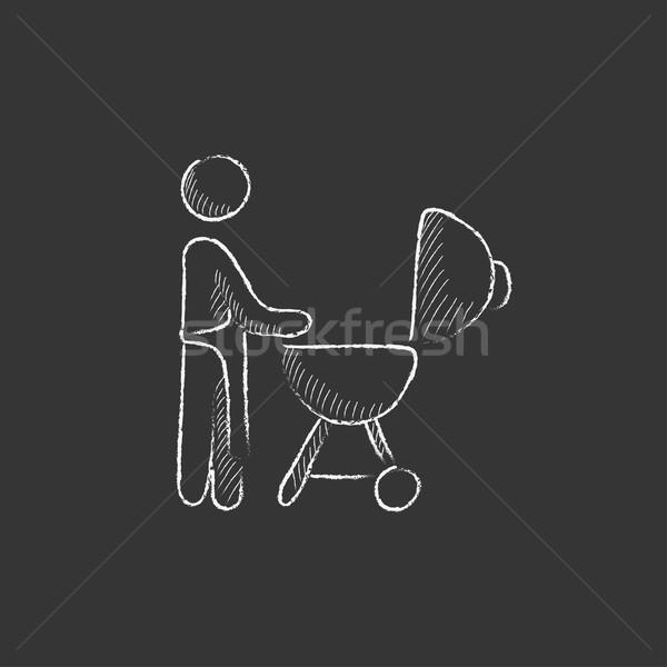 Man barbecue krijt icon ketel Stockfoto © RAStudio