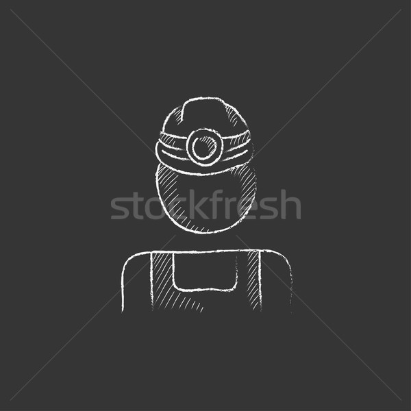 Coal miner. Drawn in chalk icon. Stock photo © RAStudio