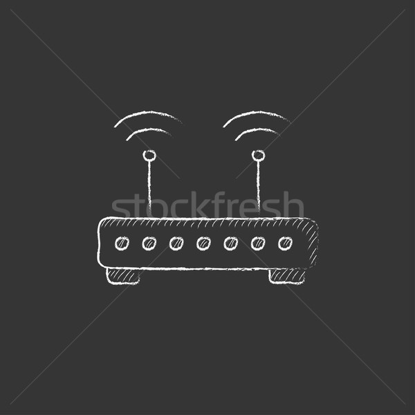 беспроводных маршрутизатор мелом икона рисованной Сток-фото © RAStudio