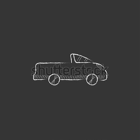 Krankenwagen Auto gezeichnet Kreide Symbol Hand gezeichnet Stock foto © RAStudio