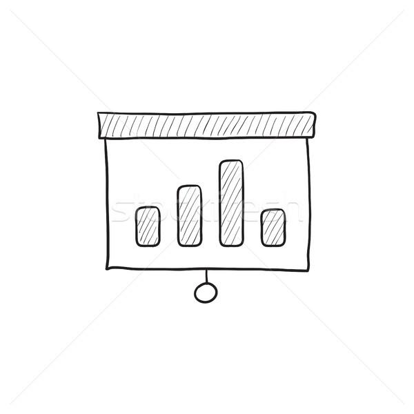 Projector scherm schets icon vector geïsoleerd Stockfoto © RAStudio