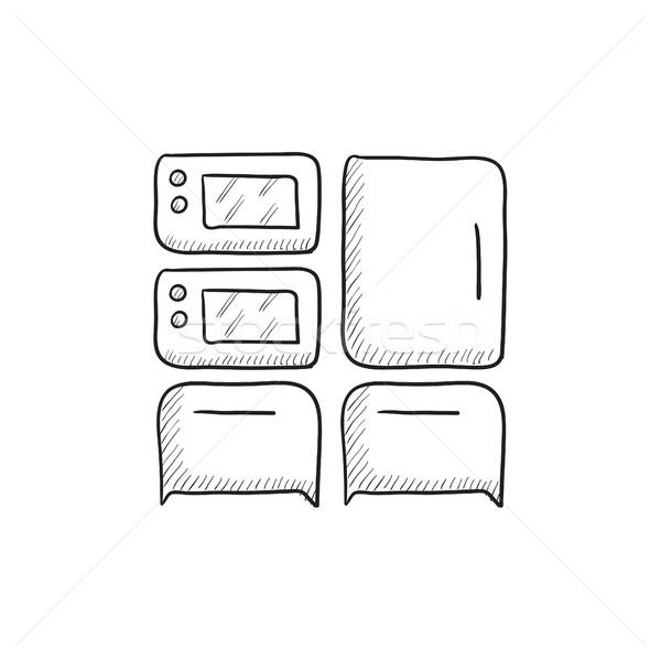 Domestique appareils croquis icône vecteur isolé Photo stock © RAStudio