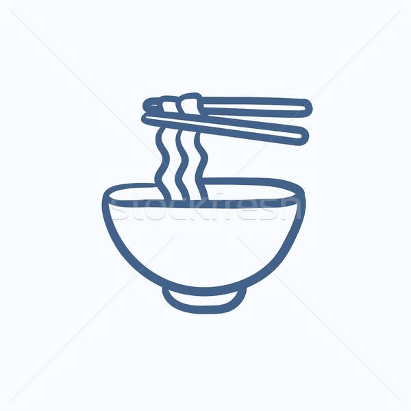 Puchar pary pałeczki do jedzenia szkic ikona Zdjęcia stock © RAStudio
